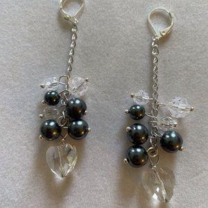 Crystal and Pearl Shoulder Duster Earrings, NWT